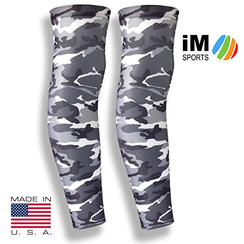 iM Sports CHEETAH Running Compression Leg Sleeves + Reduce Injury + UV Protection + Unisex + Made in USA - Grey Camo - Medium / Large - Pair