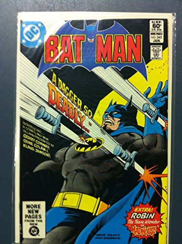 Batman #343 A Dagger So Deadly Jan 82 NO MAILING LABEL Very Fine (8 out of 10) by Mickeys Pubs