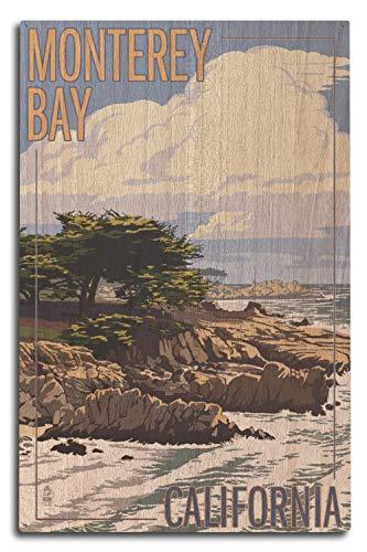 Monterey Bay, California - Cypress Tree 97638 (10x15 Wood Wall Sign, Wall Decor Ready to Hang)