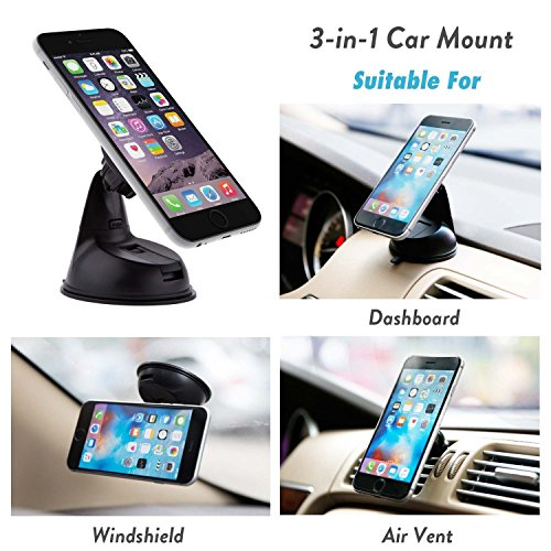 Encust Universal 3 in 1 Dashboard/Windshield/Air Vent Magnetic Car Mount Phone Holder for iPhone 7 SE 6/Plus 5s/ 5c/5, Samsung Galaxy Edge S7 S6, HTC Nexus 6 & Other Cell Phones (Lifetime Warranty) (Apple 6 Plus Accesories compare prices)