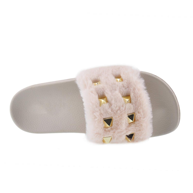 Habitaen Spring Autumn Fluffy Women Slippers Rivet Slip On Sliders Flat Flip Flop Sandal