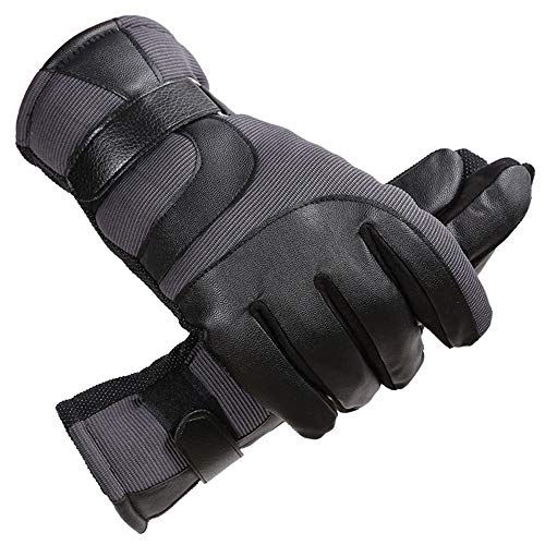 AINIYF Ski Gloves | Men's Leather Mittens Winter Windproof Non-slip Warm Plus Velvet Thicken Outdoor Cycling Bike Full Finger Motorcycle Mittens Winter (Color : Gray) by AINIYF (Image #8)
