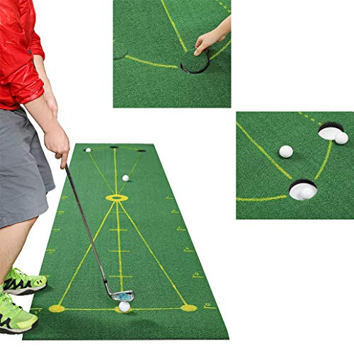 SPRAWL Golf Green Putting Mat with 3 Golf Balls Professional Training Practice Putt for Indoor Outdoor Office Beach
