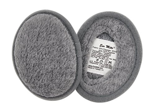 Ear Mitts Bandless Ear Muffs For Men & Women, Gray Fleece Ear Warmers, Small (Ear Warmers Bandless)