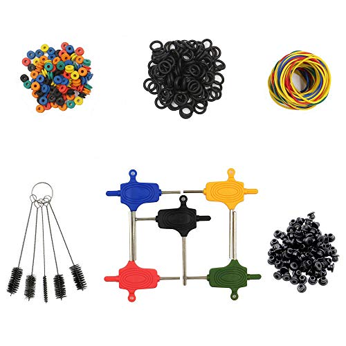 Tattoo Machine Parts - BoChang 100 Tattoo Rubber Bands, 100 Tattoo O-rings, 100 Tattoo Grommets, 100 Tattoo Nipples, 5 Tattoo Brushes, 5 Tattoo Wrench Part Hexagon Adjuster Set for Tattoo Accessories ()