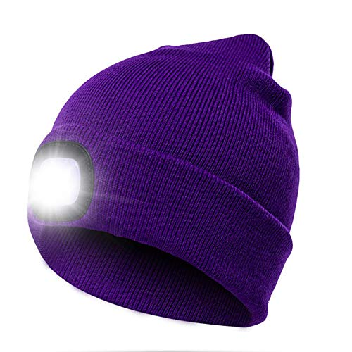 LED Lighted Beanie Cap, Unisex Lighted Headlamp Hat for Hunting, Camping, Jogging, Grilling, Handyman Working and More, Unisex Winter Warmer Knit Cap Hat Perfect Hands Free Flashlight - Beanie 09