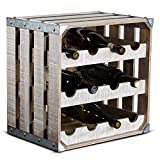 wooden crate wine rack - American Art Décor 12 Bottle Wine Rack Rustic White Wood Square Vintage Crate Galvanized Metal Farmhouse Decor Wine Storage