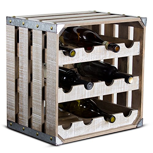 Millennium Art 12 Bottle Wine Rack Rustic White Wood Square Vintage Crate Galvanized Metal Farmhouse Decor Wine Storage by Millennium Art