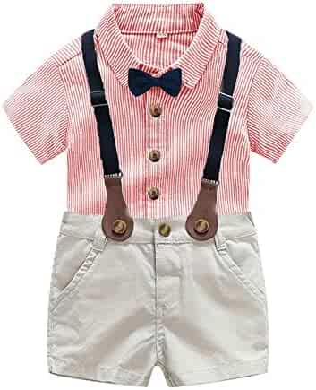 60981a25f Fabal Infant Baby Boy Gentleman Suit Bow Tie Shirt Suspenders Shorts Pants Outfit  Set