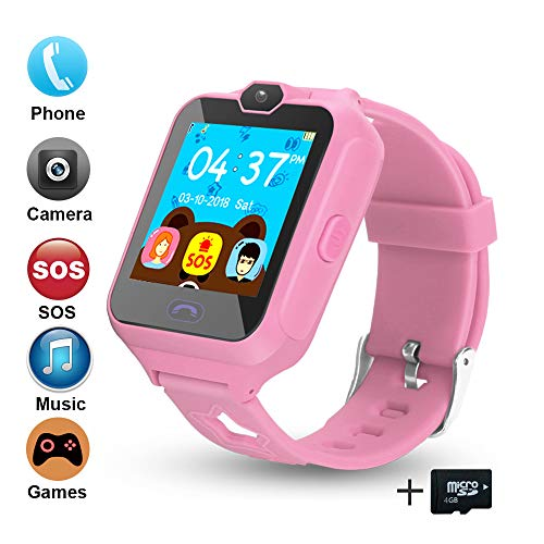 Phone Camera Watch Cell (Smart Phone Watch for Kids, Unlocked Cell Phone Watch with [Anti-Lost SOS] [Camera] [Alarm] [Games] Smart Watch Includes 4GB Micro SD Card, Nice Birthday Gifts for Kids Boys and Girls (Bule))