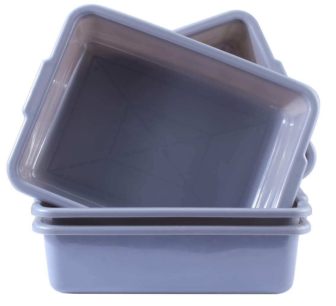 4-Pack Commercial Plastic Bus Tubs Box/Tote Box, Grey 13 Liter Plastic Storage Bin with Handles/Wash Basin Tub