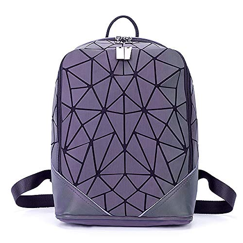 Geometric Luminous Satchels Shard Lattice Leather Rainbow Holographic Reflective Flash Backpack Travel Shoulder Bag Matte ()