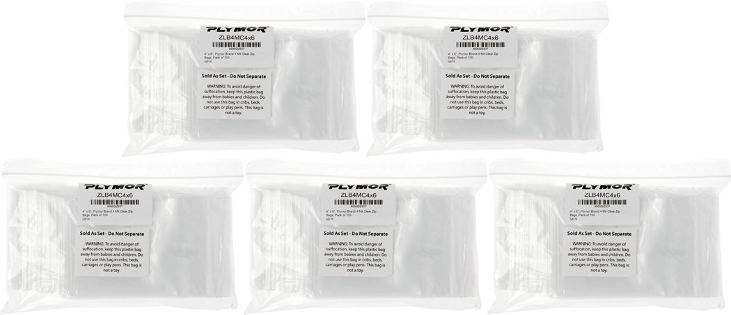 Heavy Duty Plymor Brand Zipper Reclosable Storage Bags 4 x 6 4 Mil DispenserBag Pack of 100