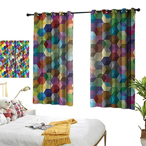 Sliding Curtains Abstract Home Decor Collection Color Cubes Mosaic Party Festive Theme Modern Fun Geometric Artwork Privacy Protection 55