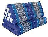 Thai triangle cushion XXL, with 2 folding seats, blue, sofa, relaxation, beach, pool, meditation, yoga, made in Thailand. (82217)