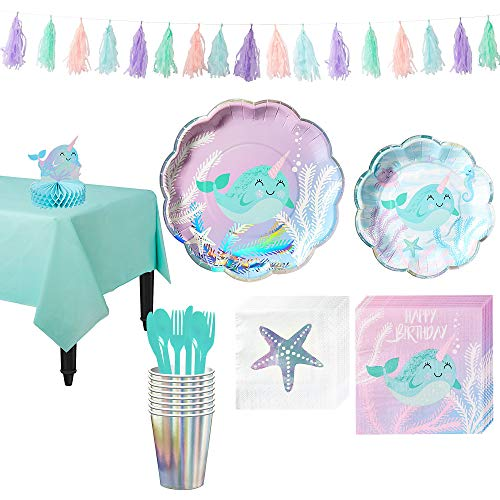 Party City Narwhal Tableware Party Kit for 8 Guests, Includes Plates, Napkins, Table Cover, and Decorations ()