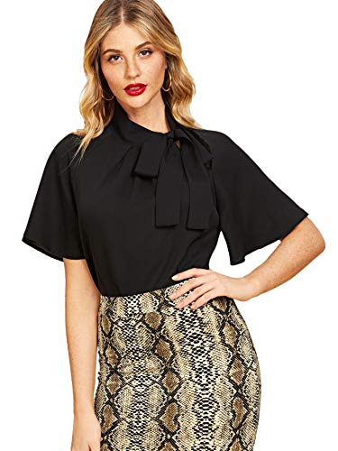 - SheIn Women's Casual Side Bow Tie Neck Short Sleeve Blouse Shirt Top Large Black