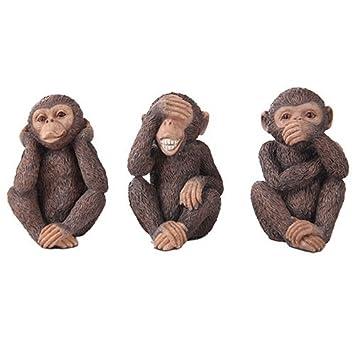 See, Hear, Speak No Evil Monkey Shelf Sitter Computer Top Sitters Chimpanze