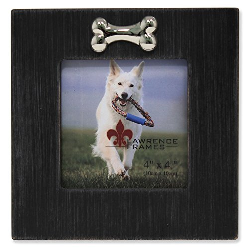 Frame Picture Bone Dog - Lawrence Frames Wash Dog Frame with Bone Ornament, 4 by 4-Inch, Black