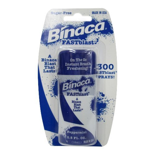 Binaca Fast Blast Breath Spray PepperMint 0.50 oz (Pack of 3)