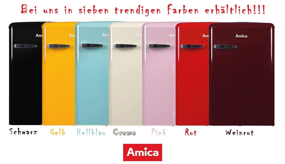 Amica Kühlschrank Mit Gefrierfach : Amica retro kühlschrank schwarz ks s a liter mit
