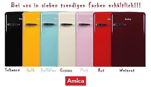 Amica Kühlschrank Mit Gefrierfach Retro : Amica retro kühlschrank gelb ks 15613 y a 106 liter mit
