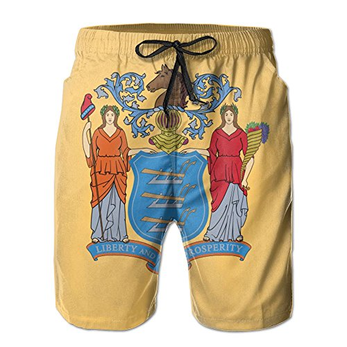 DTMN7 Flag Of New Jersey Men's Beach Shorts Casual Classic Printing Quick Dry Swim Trunks With - Mount Jersey Hope New