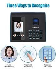Aibecy جهاز حضور ذكي الوجه بصمة الأصابع التعرف على مجموعة ساعة الوقت بيومترية للموظفين مع وظيفة البث الصوتي تدعم متعدد اللغات