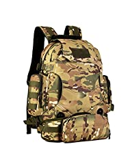 Protector Plus Tactical Military MOLLE Assault Backpack Pack 3 Way 40L Large Waterproof Bag Rucksack with PatchSport Outdoor Gear For Hunting Camping Trekking (CP Camouflage)