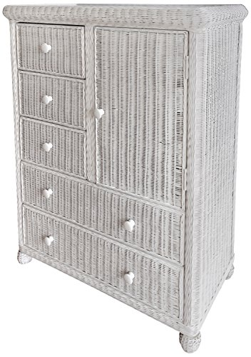 Wicker Paradise GA109 Elana Five Drawer One Door Chest, Large