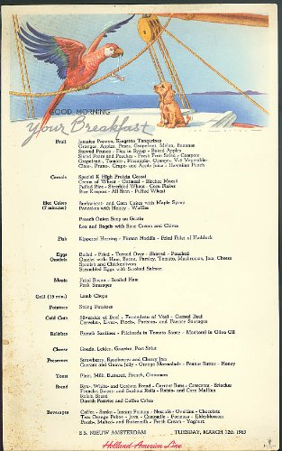 Amazon holland america line s s nieuw amsterdam breakfast menu holland america line s s nieuw amsterdam breakfast menu card 312 1963 publicscrutiny Image collections