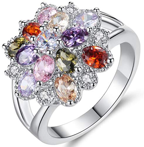 TEMEGO Multi-Color Gemstone Colorful Crystal CZ Cluster Flower Ring,Silver Large Cocktail Statement Ring