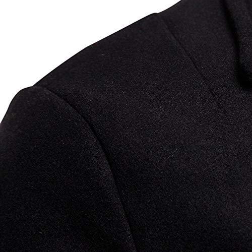 Los Solapa Negro Blusa Casual Lana Abrigo Deelin Abrigos Color Peacoat Hombres Sólidos Tops Manga Largos Larga Y Chaquetas Otoño Botón Invierno De Medio Gabardina CHnw0qxwpg