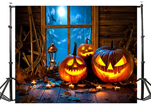 DLERGT 7x5ft Happy Halloween Backdrop Pumpkin Lamps Shining Moon Night Backdrops Vinyl Photo Background Leaves Retro Wood Floor Costume Party Studio Props 6-83