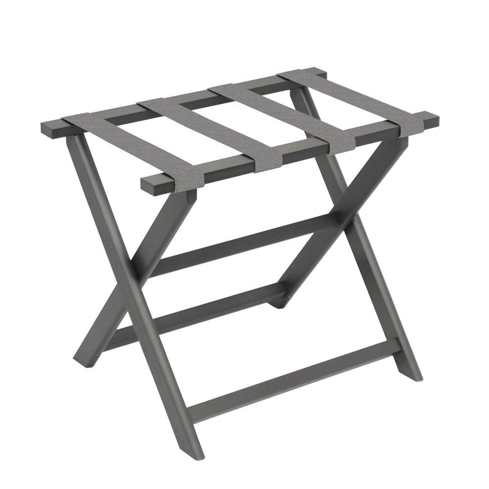 "Gate House Furniture Grey Straight Leg Dark ECO Folding Luggage Rack, 23"" x 13"" x 20"""