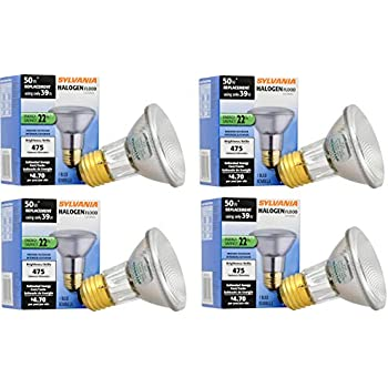 PAR20 Flood Light Reflector 50W replacement//Medium base E26 warm white SYLVANIA 16104 Capsylite Halogen Dimmable Lamp 39 Watt 8 Pack 2850 K