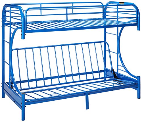 Major-Q Sh4509bl Navy Blue Modern Metal Tube Supported Twin Futon Bunk Bed with Built-in Ladders and Full Length Guard ()