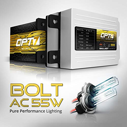 OPT7 Bolt AC 55w H7 HID Kit - 5X Brighter - 6X Longer Life - All Bulb Sizes and Colors - 2 Yr Warranty [5000K Bright White Xenon Light]