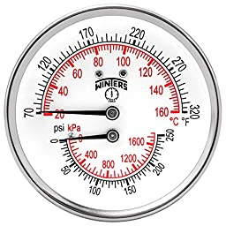 Winters TTD Series Steel Dual Scale Tridicator Thermometer with 2\