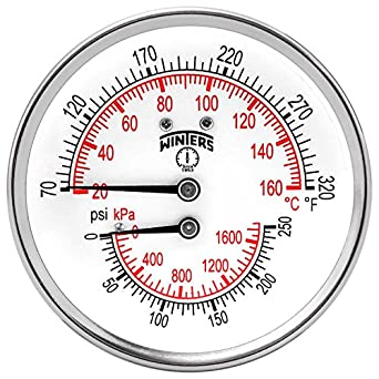 """Winters TTD Series Steel Dual Scale Tridicator Thermometer with 2"""" Stem, 0-250psi/kpa, 3"""" Dial Display, ±3-2-3% Accuracy, 1/2"""" NPT Back Mount, 70-320 Deg F/C"""