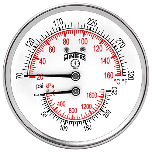 Winters TTD Series Steel Dual Scale Tridicator Thermometer with 2'' Stem, 0-250psi/kpa, 3'' Dial Display, ±3-2-3% Accuracy, 1/2'' NPT Back Mount, 70-320 Deg F/C by Winters Instruments