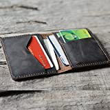 Personalized Men's Minimalist Leather Wallet Wallet Card Holder Distressed Wallets for Gifts - | Dark Brown