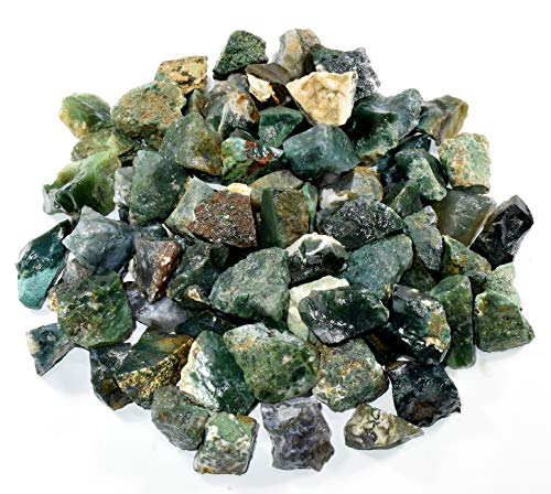 Natural Green Moss Agate Rough Stones Gemstone Crystal Mineral Cabochons Rock Specimen Cabs from India (10PCS) ()