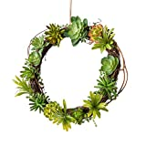 Mkono Artificial Living Succulent Wreath Sweet Garden 12 Inch