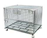 BR Tools FWC-484036L Collapsible Galvanized Wire Mesh Container (with Lid 48 x 40 x 36 Inches)