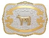 Crumrine Western Belt Buckle Kids Child Calf Steer 4 x 5 Gold 384
