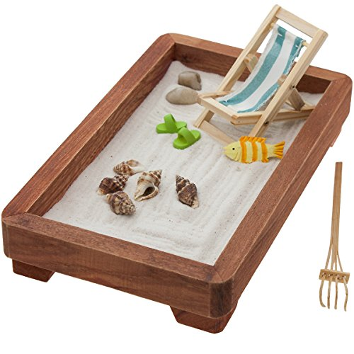 Desktop Zen Garden Office Desk Stress Relief Calm Relax Sand Rocks Mini Rake Kit