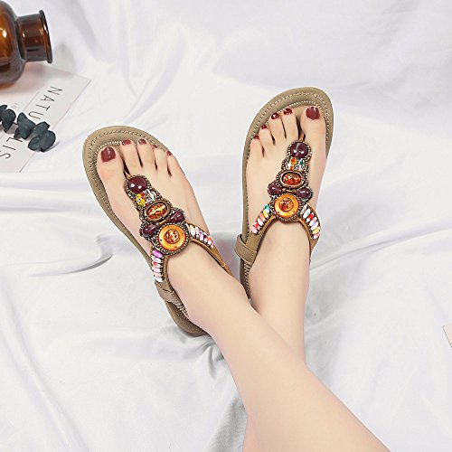 cm Moda cm Casual Zapatos Negro Confort Sandalias Verano Tacón Bohemia plano de de 3 Clip Mujer de bajo peep Sandalias Caqui Azul 1 toe dedo cuero del pie planos Caqui Rosa Étnica Chica 4wqpxr4