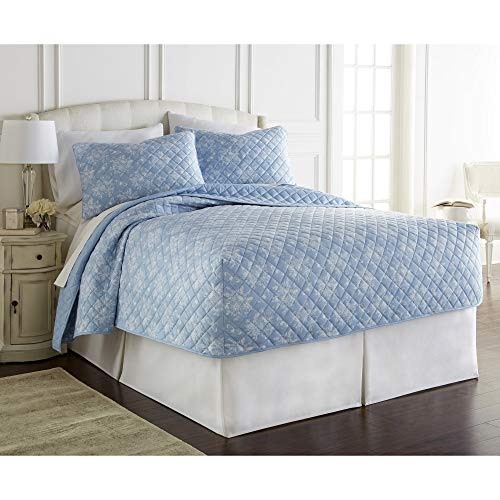 Micro Flannel Shavel Durable & Luxurious Floral Pattern Fitted Quilt Sets Full, Quilt 75x54x16; 2-Piece Shams 22x28 - Toile Wedgewood. ()