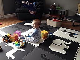 SoftTiles Safari Animals Kids Foam Play Mats w/Sloped Edges Large Foam Mats- 2\' Floor Tiles 78\
